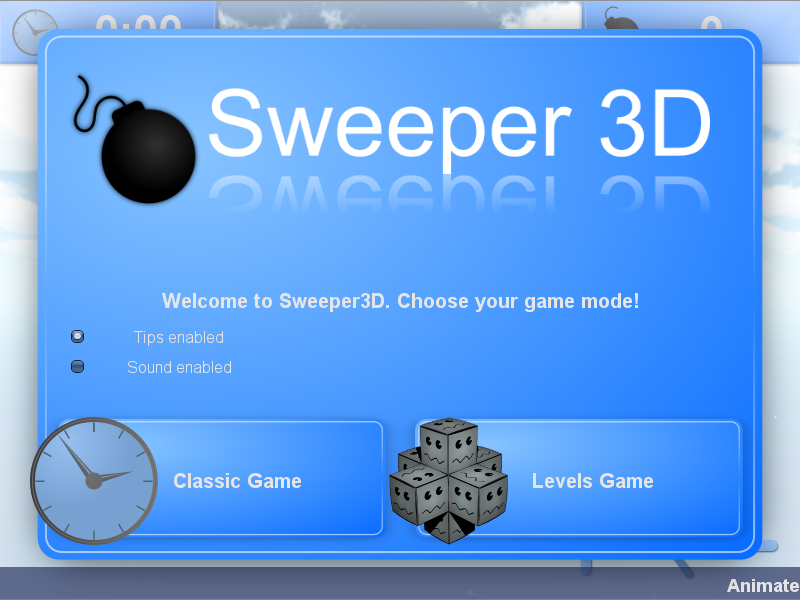 Sweeper 3D menu